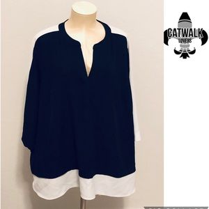 Calvin Klein high low bell sleeves tunic top